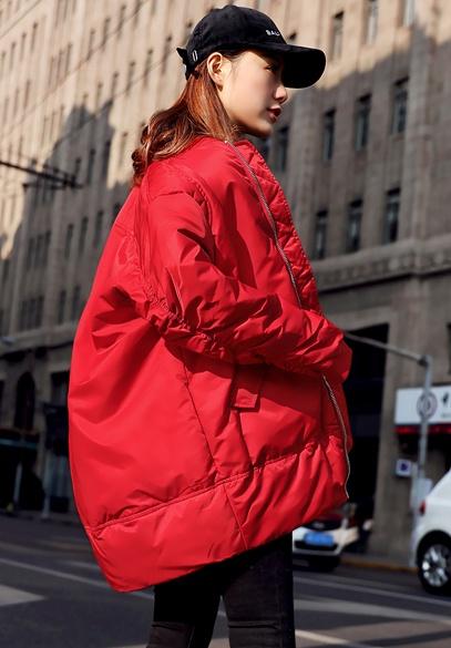 衣饰馨语2017冬季新款韩版圆领棒球服羽绒服女中长款保暖羽绒衣外套
