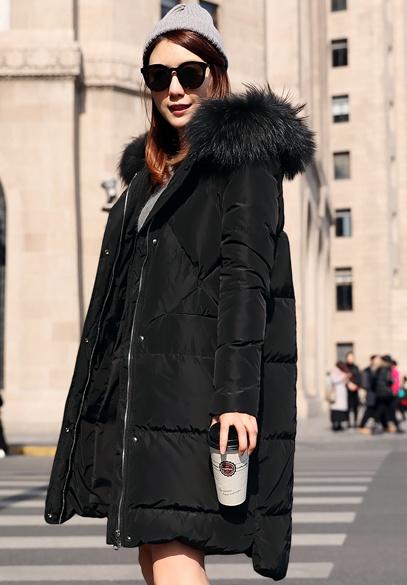 衣饰馨语2017冬季新款韩版中长款大毛领连帽加厚保暖女士休闲羽绒服外套