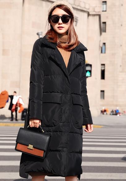 衣饰馨语2017冬装新款女装韩版时尚中长款西装领大口袋白鸭绒羽绒服外套