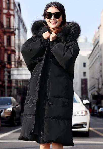 衣饰馨语2017冬季新款韩版中长款加厚连帽保暖羽绒服大毛领羽绒衣外套