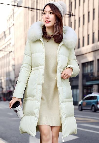 衣饰馨语2017冬季新款韩版中长款修身显瘦连帽加厚羽绒服女狐狸毛领羽绒外套