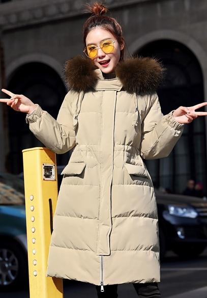 衣饰馨语2017冬季新款韩版中长款时尚显瘦大毛领连帽保暖羽绒服外套女