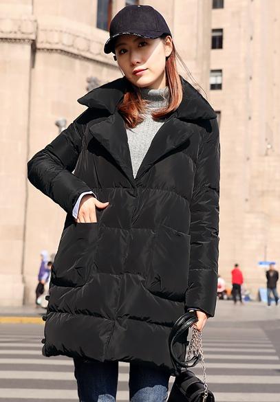 衣饰馨语2017冬装新款中长款西装领女士羽绒衣加厚保暖休闲羽绒服外套潮