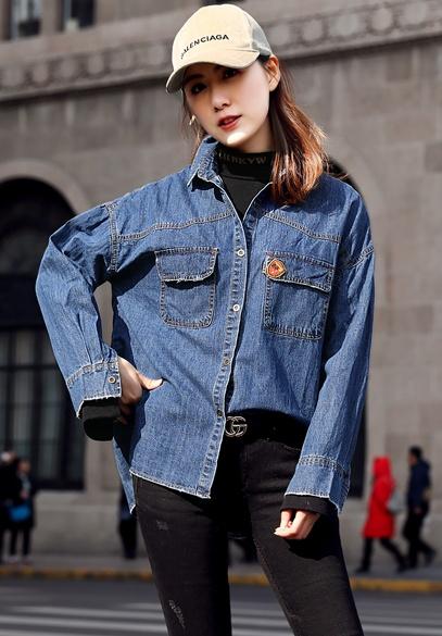 衣饰馨语2018春季新款韩版时尚女士牛仔上衣女时尚无袖背心衬衫假两件套潮
