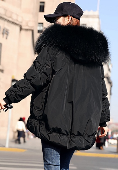 衣饰馨语2017冬装新款女装韩版宽松白鸭绒羽绒服大毛领连帽羽绒衣外套潮