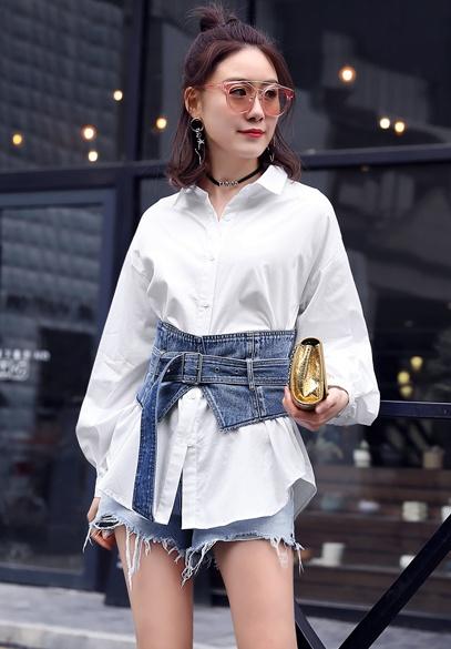 衣饰馨语2018春季新款女士衬衣韩版时尚宽松显瘦衬衫腰封两件套潮