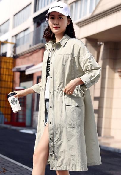 衣饰馨语2018春季新款女士韩版中长款宽松时尚百搭翻领风衣外套潮