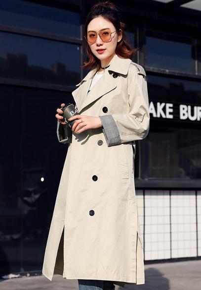 衣饰馨语2018春季新款韩版时尚显瘦中长款西装领女士风衣外套潮