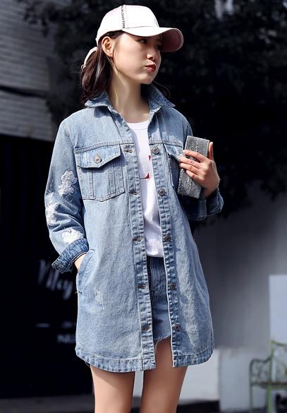 衣饰馨语2018春季新款韩版中长款显瘦女士牛仔衣时尚鳞片绣花牛仔外套