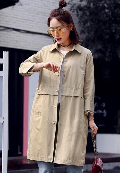 衣饰馨语2018春季新款韩版时尚中长款蕾丝拼接九分袖翻领风衣女外套