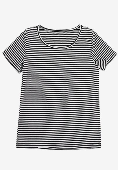 衣饰馨语2018夏新款针织短袖圆领黑白条纹T恤女(促销)不可以单买