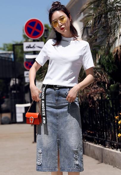 衣饰馨语2018夏季新款韩版时尚套装短袖T恤+牛仔半身裙两件套潮
