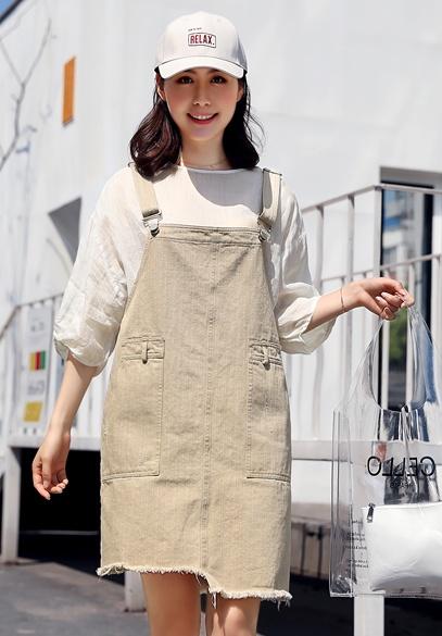 衣饰馨语2018夏季新款连衣裙学院风减龄百搭宽松休闲女士牛仔背带裙