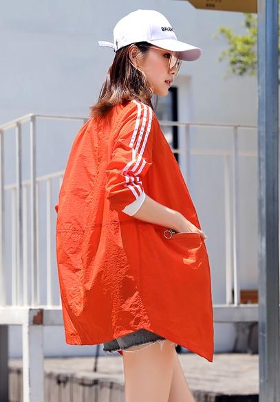 衣饰馨语2018夏季新款韩版中长款圆领防晒衣女士长袖宽松百搭轻薄防晒服