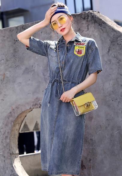衣饰馨语2018夏季新款韩版中长款收腰显瘦时尚翻领薄款牛仔连衣裙女