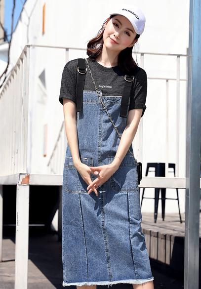 衣饰馨语2018夏季新款韩版中长款显瘦牛仔连衣裙女时尚减龄百搭牛仔背带裙