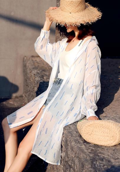 衣饰馨语2018夏季中长款宽松大码女士长袖开衫轻薄透气休闲衬衫防晒衣