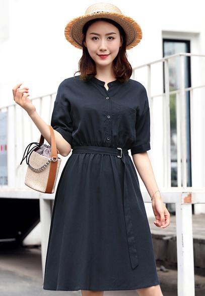 衣饰馨语2018夏季中长款收腰显瘦裙子韩版时尚女士短袖薄款天丝连衣裙