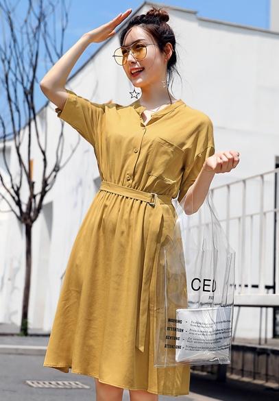 衣饰馨语2018夏季中长款收腰显瘦裙子韩版时尚女士短袖薄款天丝连衣裙(6月30下架 )