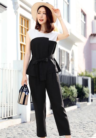 衣饰馨语2018夏装新款韩版时尚显瘦套装女士无袖圆领上衣+九分裤两件套