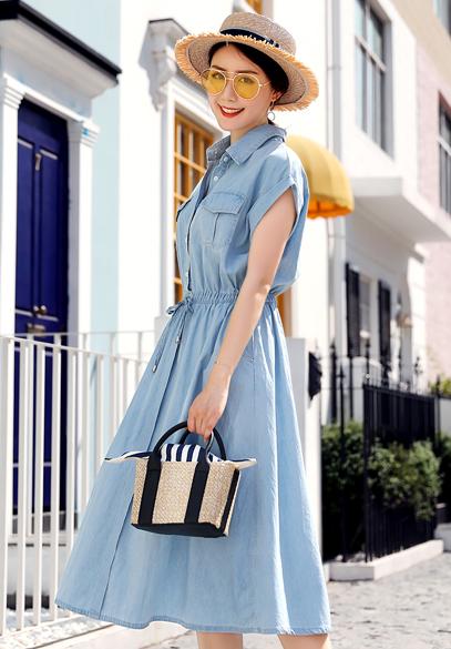 衣饰馨语2018夏季新款韩版中长款高腰显瘦薄款女士裙子翻领短袖牛仔连衣裙