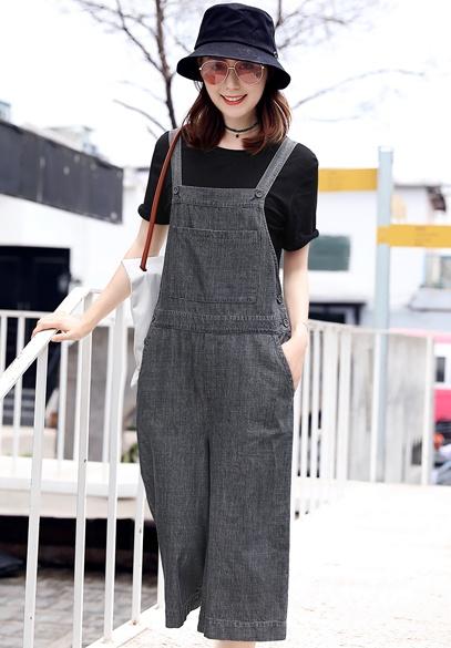 衣饰馨语2018夏季新款韩版宽松阔腿连衣裤女短袖T恤七分牛仔背带裤两件套潮