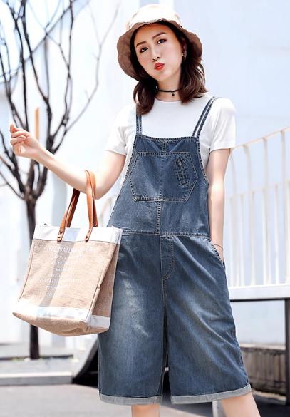 衣饰馨语2018夏季新款韩版宽松牛仔吊带五分裤女时尚短袖背带裤两件套