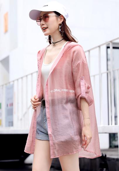 衣饰馨语2018夏装新款女装韩版中长款轻薄透气宽松连帽百搭防晒衣薄外套