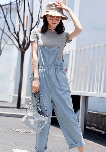 衣饰馨语2018夏季新款女士牛仔吊带裤短袖T恤+宽松七分背带裤休闲两件套