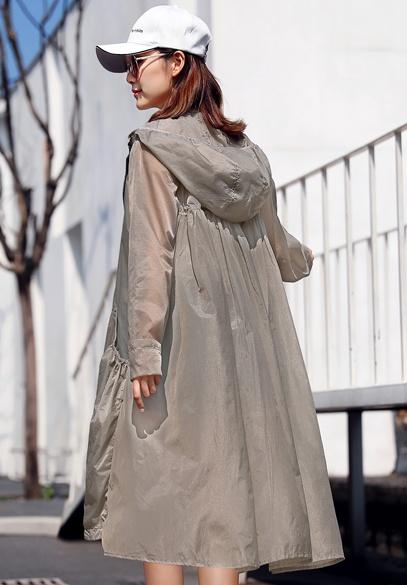 衣饰馨语2018夏新款韩版长款宽松连帽A字型防晒衣女轻薄透气防晒衫薄外套