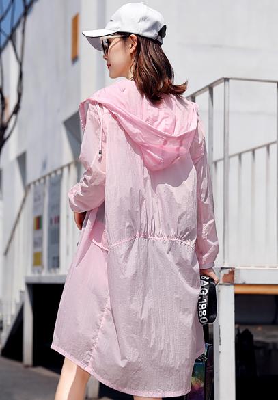 衣饰馨语2018夏季中长款轻薄透气防晒衣女韩版时尚连帽宽松防晒衫薄外套