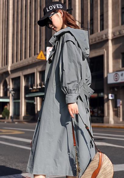 衣饰馨语2018秋季新款韩版长款显瘦女士时尚气质过膝休闲百搭连帽风衣
