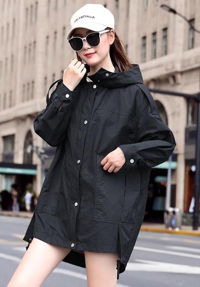 衣饰馨语2018秋季新款韩版中长款大码宽松休闲外套女连帽百搭风衣潮