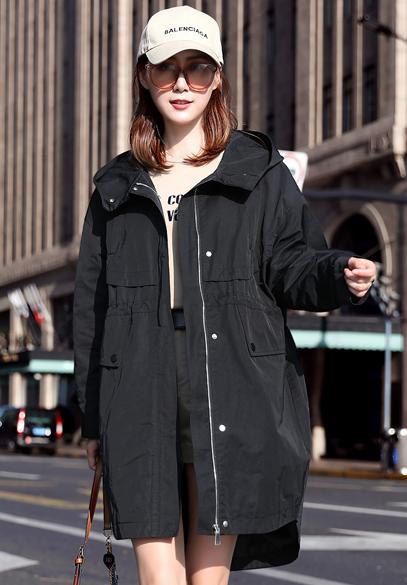衣饰馨语2018秋装新款韩版中长款连帽外套女士宽松休闲百搭bf风衣潮