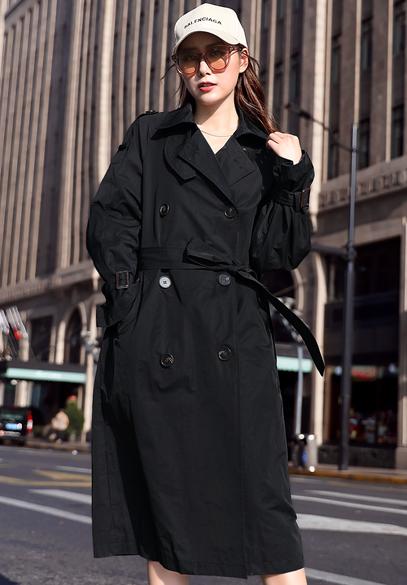 衣饰馨语2018秋季新品韩版中长款显瘦外套女士双排扣百搭休闲气质风衣