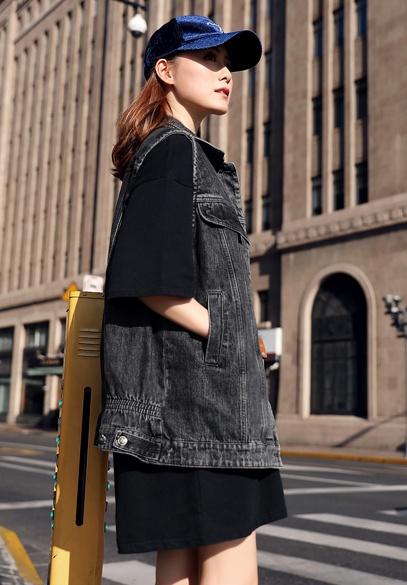 衣饰馨语2018秋季新款韩版时尚女士牛仔马夹中长款显瘦无袖坎肩背心