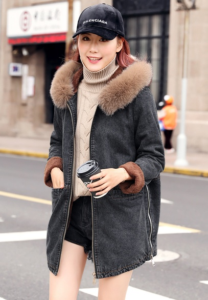 衣饰馨语2018冬季韩版中长款加绒加厚牛仔棉衣女狐狸毛领连帽牛仔棉服外套