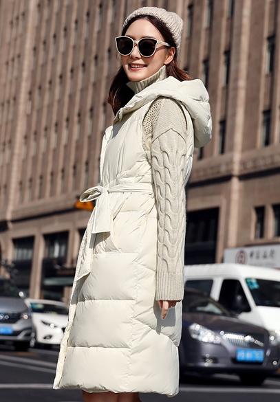衣饰馨语2018秋冬新款韩版中长款修身显瘦羽绒马甲女士连帽羽绒服马夹外套