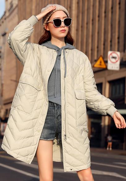 衣饰馨语2018早冬新款韩版中长款宽松圆领羽绒服外套女士薄款羽绒衣