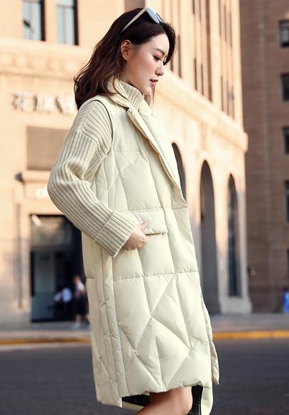 衣饰馨语2018秋冬新款韩版修身显瘦女士棉衣马夹中长款西装领棉服马甲外套