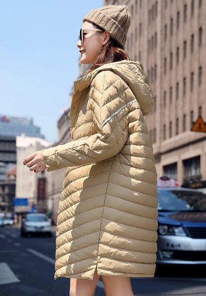 衣饰馨语2018初冬新款宽松连帽轻薄羽绒服女韩版中长款百搭薄款羽绒衣外套