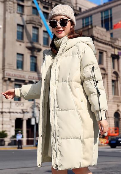 衣饰馨语2018冬季韩版中长款连帽加厚保暖棉衣女士时尚显瘦棉服外套