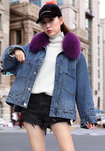 衣饰馨语2018冬季新款韩版狐狸毛领加绒加厚牛仔短外套女宽松休闲牛仔棉衣