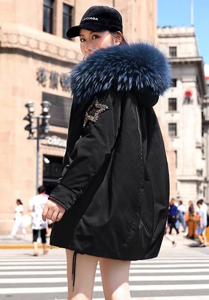 衣饰馨语欧洲站2018冬新款中长款大毛领连帽羽绒服女时尚派克服羽绒外套潮