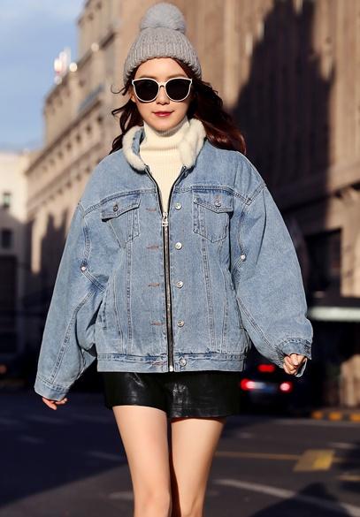 衣饰馨语2018冬季新款韩版加绒加厚宽松牛仔短外套女水貂毛领牛仔棉衣