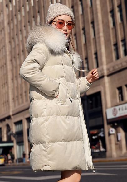 衣饰馨语2018冬季新款韩版中长款加厚羽绒外套女大毛领连帽金丝绒羽绒服