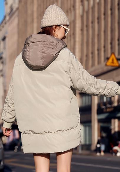 衣饰馨语2018冬新款韩版中长款加厚保暖连帽拼接棉服外套女时尚棉衣