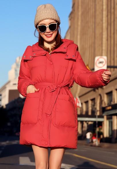 衣饰馨语2018冬季新款韩版中长款加厚保暖连帽羽绒服女宽松百搭羽绒衣外套