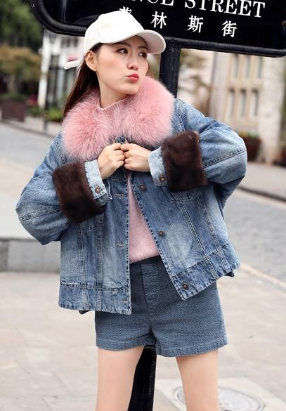 衣饰馨语欧洲站2018冬装新款时尚狐狸毛领牛仔棉服外套女士短款牛仔棉衣