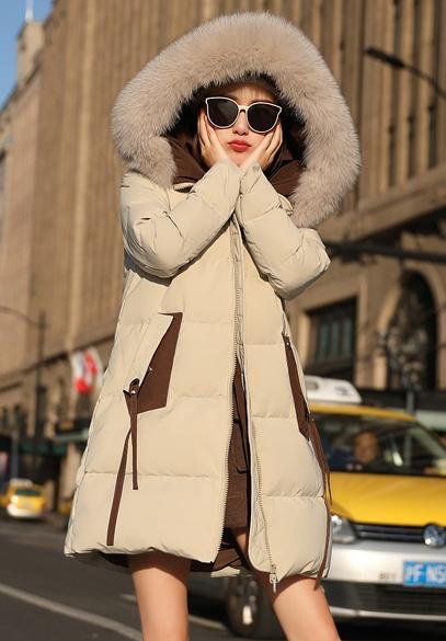 衣饰馨语2018冬装新款韩版中长加厚羽绒服女韩版时尚大毛领连帽羽绒衣外套